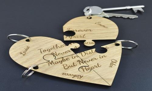 portachiavi peronalizzato a forma di cuore di puzzle