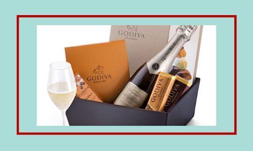 6. Godiva elegante cesto regalo con champagne