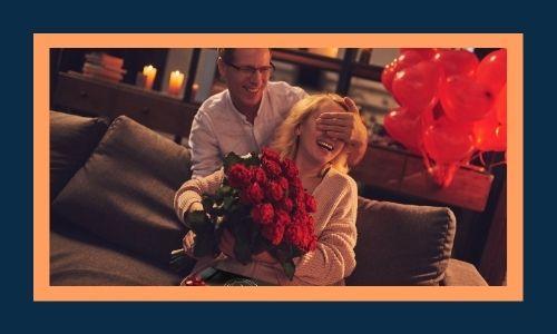 5. Sorpresa con regali e bouquet di fiori