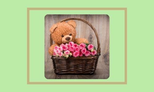 3. Rose e cesto di peluche