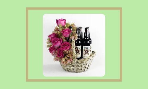 8. Cesto regalo di birra floreale